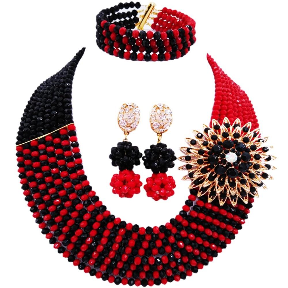 جميلة كامد الأحمر والأسود الخرز الأفريقي مجموعة مجوهرات كريستال قلادة مجموعات مجوهرات 8JBK01