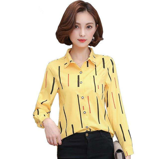 New 2019 Spring Summer Women Blouses Fashion Striped Print Shirt Chiffon Ladies Office Work Wear Shirts Blusas Tops 1392