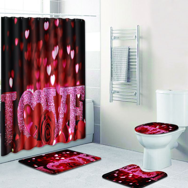 Set de cortina de ducha Love Heart, cortina de baño impermeable de poliéster de 180x180cm con juego de alfombrilla de baño