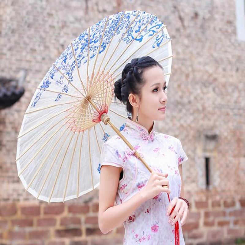 Paraguas Retro de tela de seda paraguas de rendimiento de estilo clásico paraguas elegante para mujer paraguas decorativo de papel de aceite artesanal