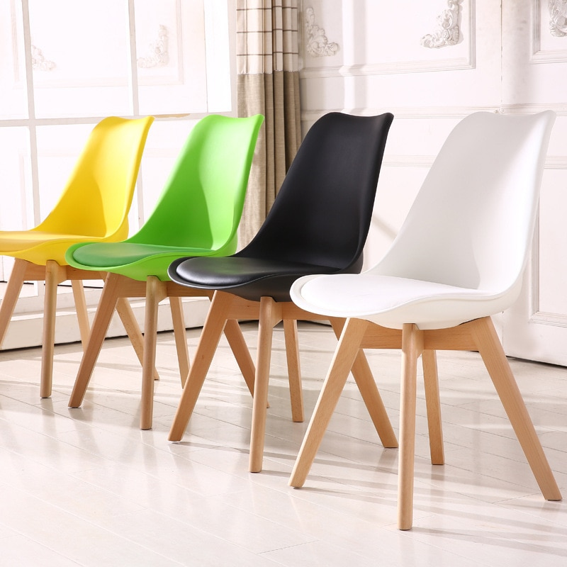 Moderno colorido de madera sólida informal de plástico confiable silla trasera Simple comedor balcón sala de estar estudio dormitorio Silla de Estudiante