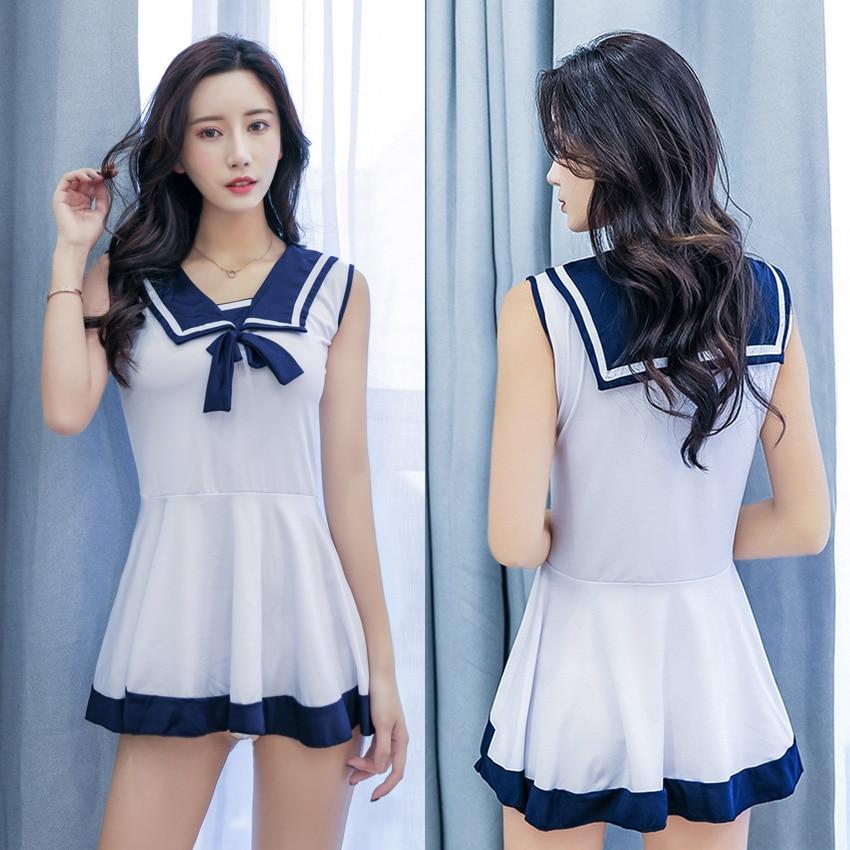 De talla grande mujer Anime Sexy trajes de marinero traje azul marino Lencería erótica ropa interior sin mangas transparente japonés Mini vestido
