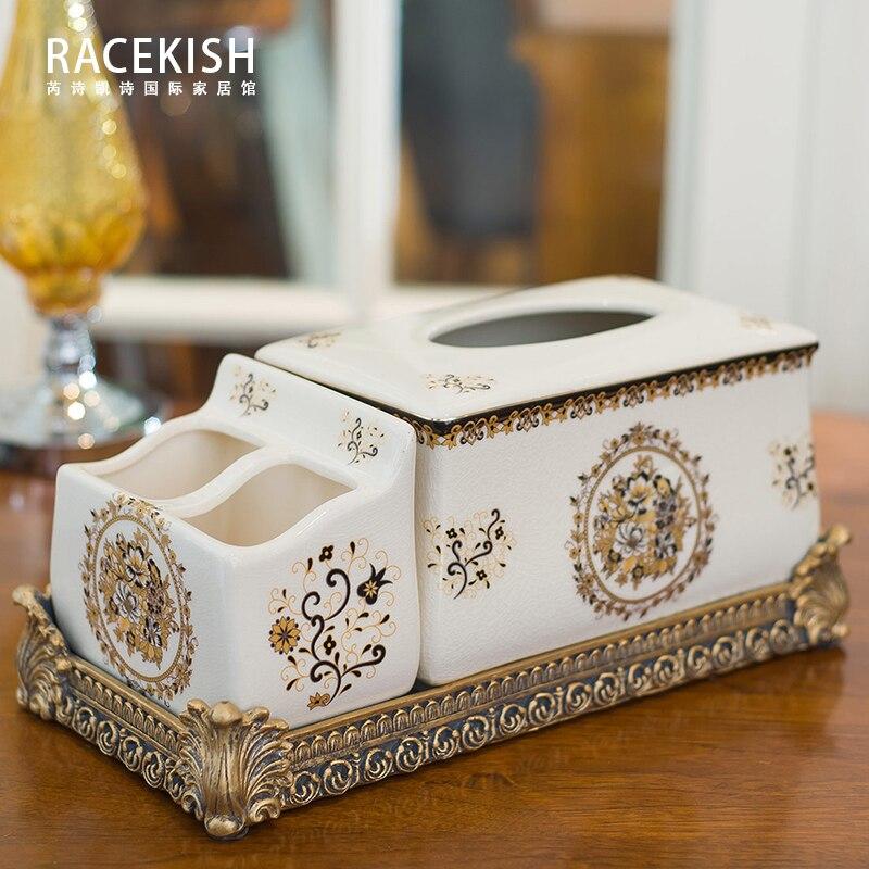 Caja de cerámica modelo de caja de tejido multifuncional europea de lujo para sala de estar