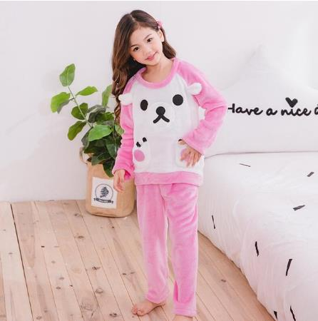 Pijamas de dibujos animados de coral para niños con envío directo, Pijamas de franela gruesa para Otoño e Invierno para Mujer
