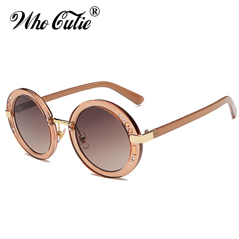 WHO CUTIE 2017 Small Rhinestone Round Sunglasses Women Retro Crystal Circle Clear Lens Sun Glasses Coating Shades OM403