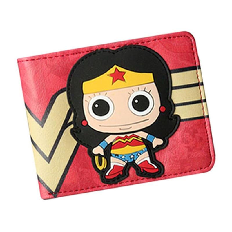 DC Comics Wonder Woman Wallet Women Men Wallet Card Short Coin Bifold ID Credit Card Holder Leather PU Cool Short Purse
