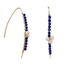 LiiJi Unique naturel Lapis Lazuli 2mm perles à facettes, Nearround perle 925 argent Sterling couleur or longues boucles doreilles
