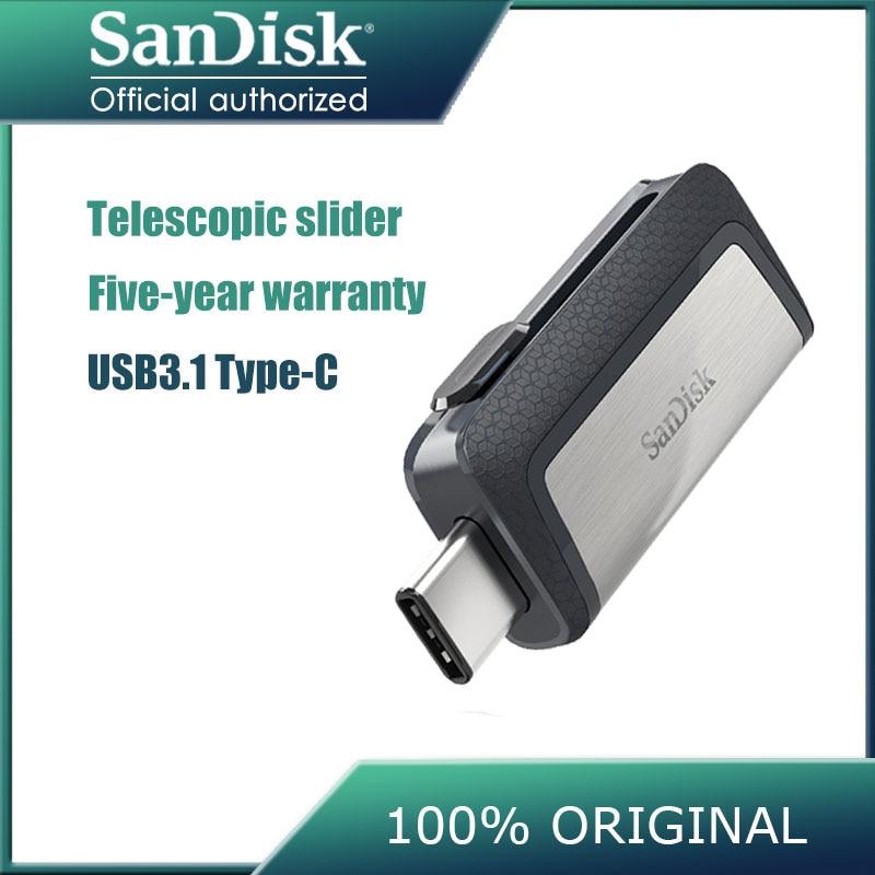 Novo sandisk 128 gb sdddc2 extrema alta velocidade tipo-c usb3.1 duplo otg usb flash drive 64 gb pen drives 16 gb 130 m/s pendrive 32 gb
