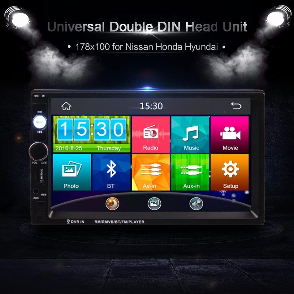 Reproductor multimedia Universal para coche, camión, autobús, 12V 24V 2Din, pantalla táctil de 7 pulgadas en el tablero, Bluetooth, Radio MP3, MP4 y MP5, Unidad Principal
