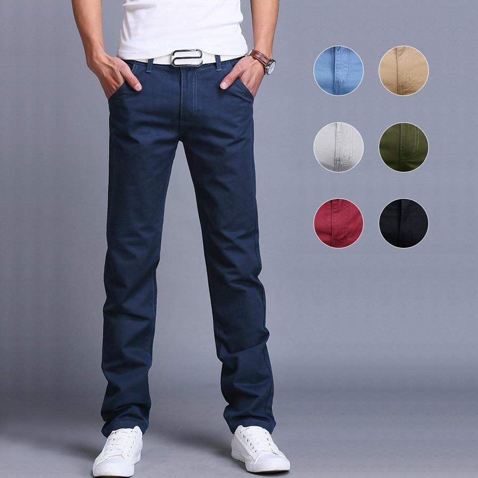 Moda masculina negócios casual calças de algodão fino calças retas primavera verão calças compridas dropshipping