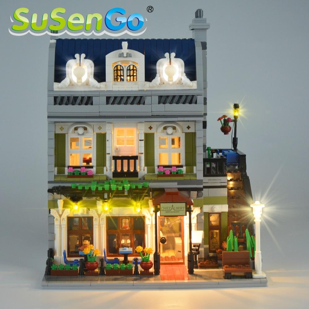 SuSenGo LED Light Set For 10243 Creator Street Parisian Restaurant Lighting Set Match with 30007 15010 NO Building Blocks Model