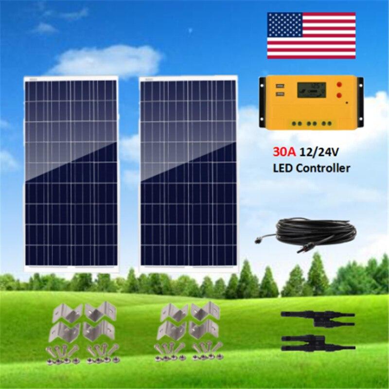 Kit de paquete de Panel Solar policristalino de 200 vatios 2X100 W Panel Solar con controlador de carga Solar 30A fuera de la red 12V RV barco casa