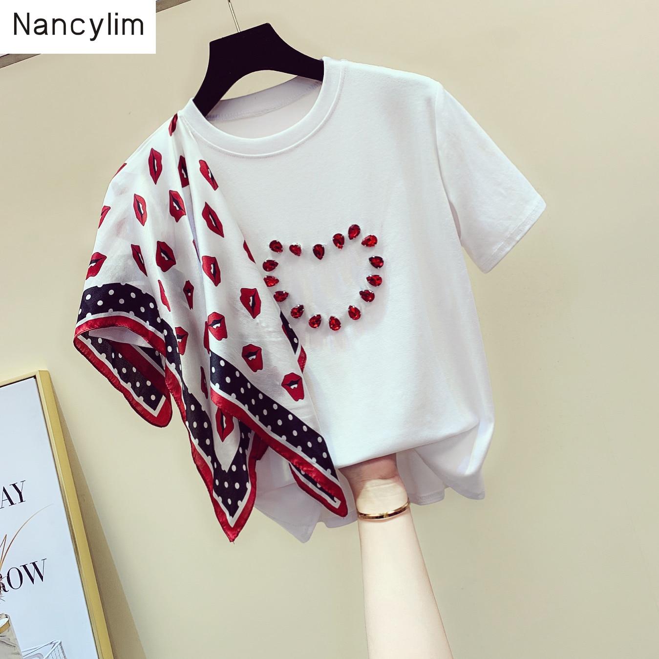 Летние женские новые свободные шарфики с оборками и бусинами, футболки с короткими рукавами для студентов, белые футболки, топы, женские футболки