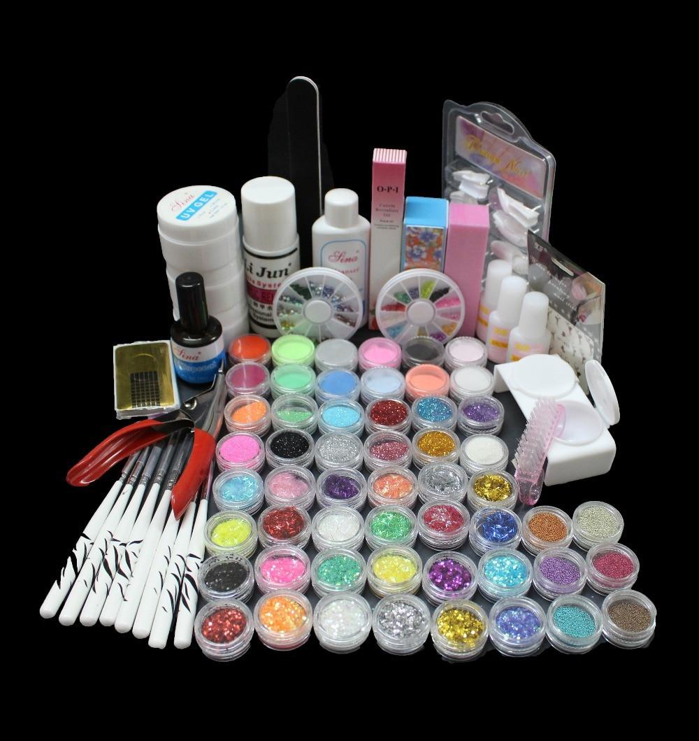 New Acrylic Liquid Nail Art Brush Glue Glitter Powder UV Gel Tool Set Kit Tip BTT-83