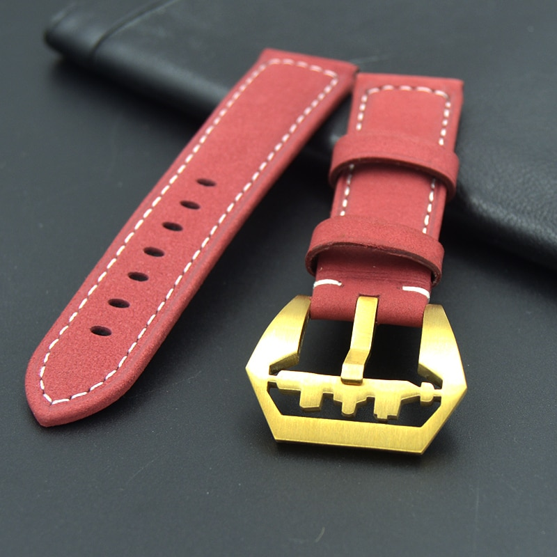 20 22 24 26mm man High Quality Soft red Leather Belt Strap Vintage Leather Watchbands Big Watch gold buckle Wristband Bracelet