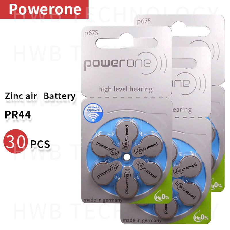 5pack (30 pcs) genuine PowerOne PR44 P675 A675 S675 zinc air bateria botão para Aparelhos Auditivos Frete grátis