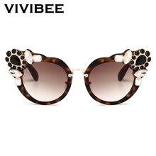 VIVIBEE-lunettes de soleil avec strass femme   Marque de luxe, lunettes de soleil rondes cristal, surdimensionnées Cateye pour dames, ombre