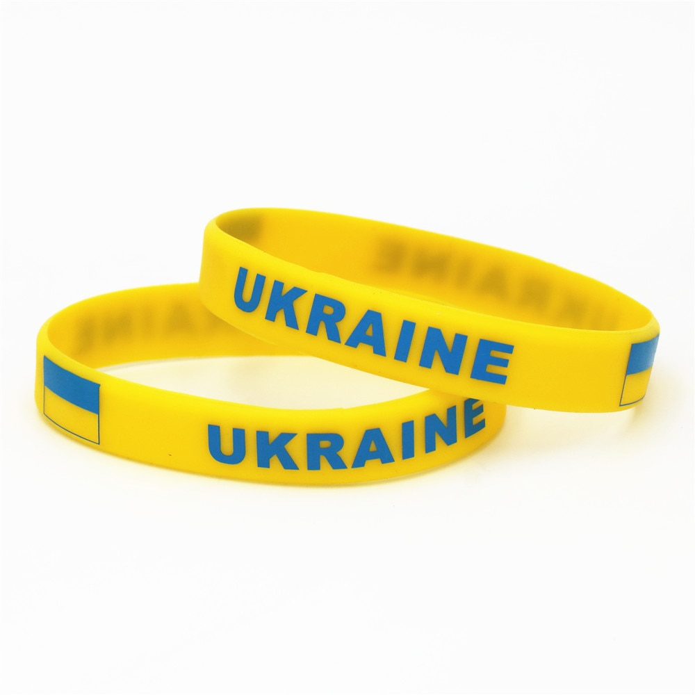 1 pc Ucrânia País Pulseira Bandeira Nacional de Futebol Amarelo Futebol Esporte Silicone Elástico Pulseiras & Bangles Presentes 2018 SH227