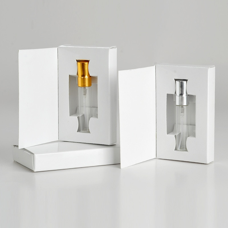 AliExpress - 50Pieces/Lot 5ML Customizable Paper Boxes And Glass Perfume Bottle With Atomizer Empty Parfum Packaging CUSTOM LOGO for gift
