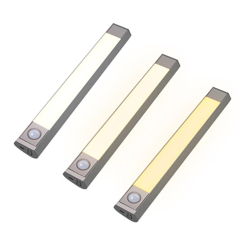 Luz de armario de inducción 2000 horas de duración iluminación de ahorro de energía nocturna LED Cable USB con batería recargable