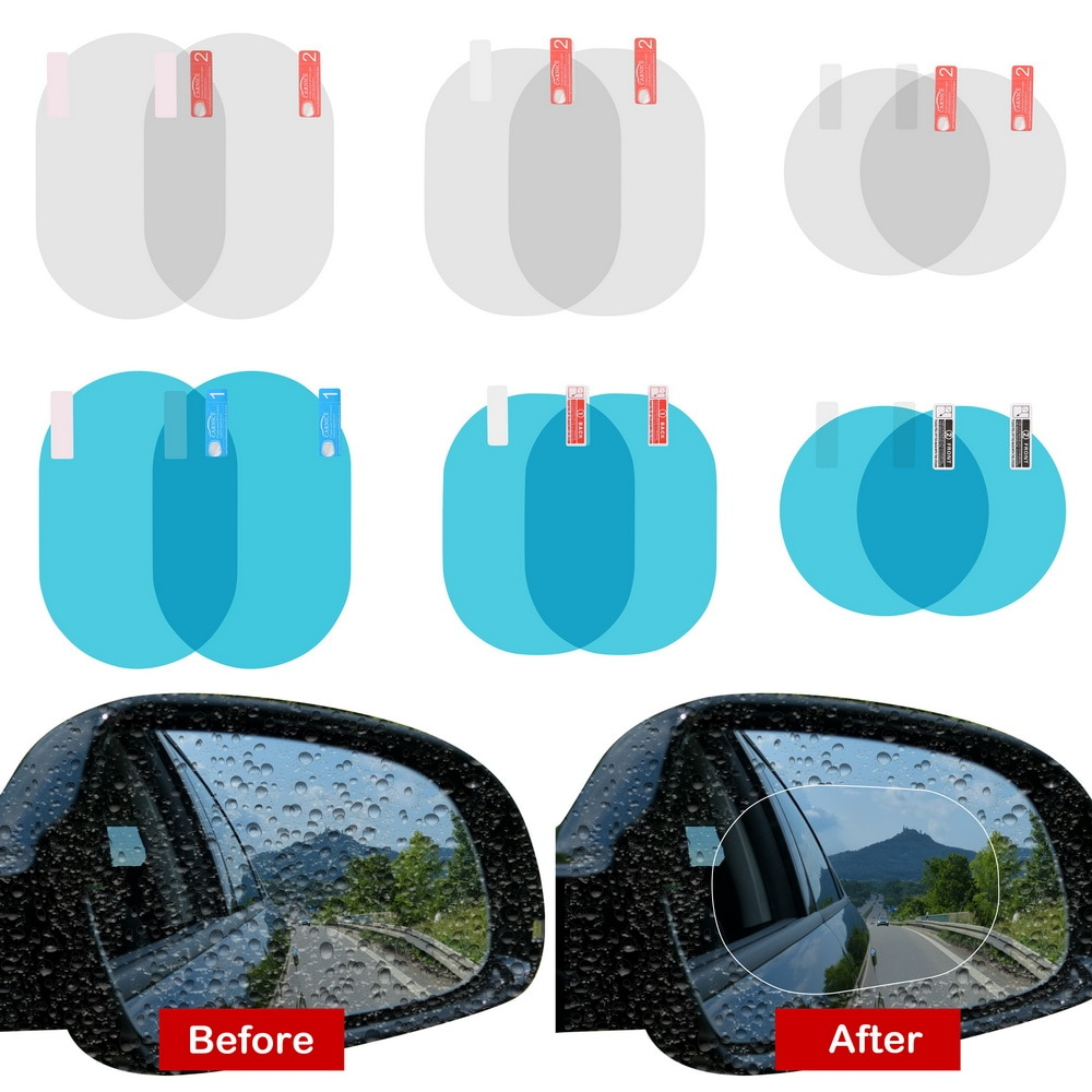 2PCS/Set  Anti Fog Membrane Anti-glare Waterproof Rainproof Car Mirror Window Clear Film Car Sticker