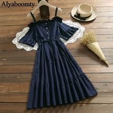2020 Summer Clothes For Women Slash Neck Sexy Off Shoulder Navy Blue Midi Dress Elegant Vintage Cotton Ruffles Korea Party Dress