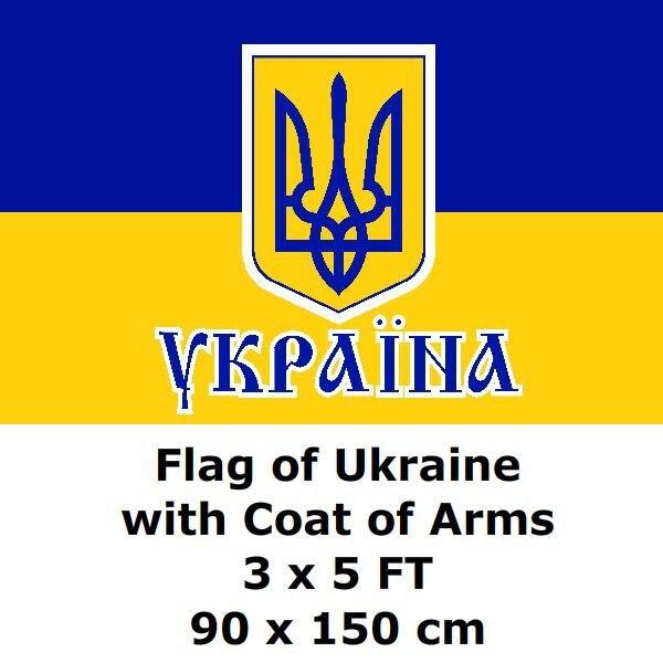 Bandera ucraniano ukrainiano 3 x 5 pies 90x150 cm 100D poliéster estampado Ucrania emblema banderas y banderas Bandera Nacional Bandera de País