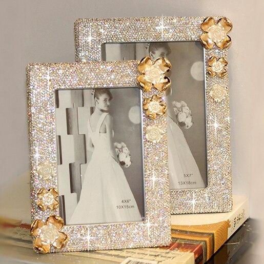 Crystal flower Photo frame wedding decoration Picture frame for home Photo frames Wedding gift for her