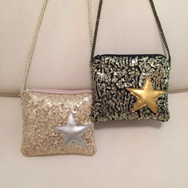 5 piezas niños coreanos de la bolsa de mensajero bolsa de lentejuelas chip flash pentagram niñas salvaje bebé niño monedero de cremallera