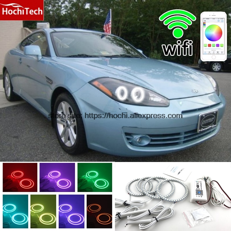 HochiTech Excelente RGB Multi-Cor de halo anéis kit car styling para angel eyes wifi controle remoto para Hyundai Tiburon 2007 2008