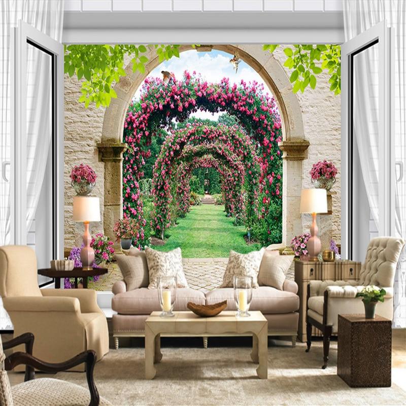 Estilo Europeo 3D ventana extensión espacial arcos flor vid camino pequeño Mural papel tapiz fondo de sala de estar papel pintado fotográfico