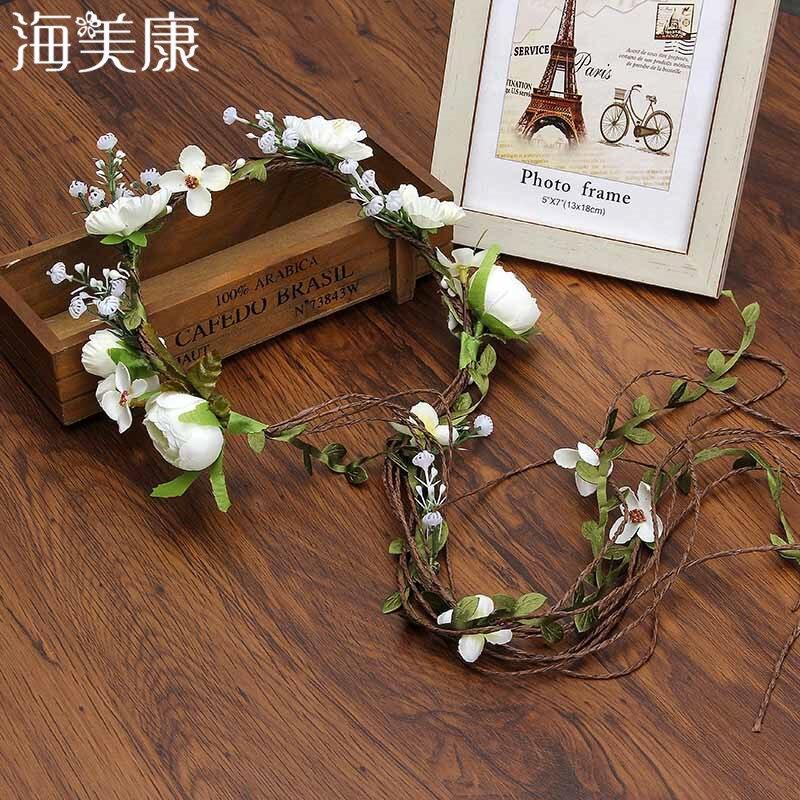 Haimeikang богемный венок резинка для волос корона для цветов Женская ротанговая имитация цветок Повязка На Голову Повязка На Запястье аксессуары для волос