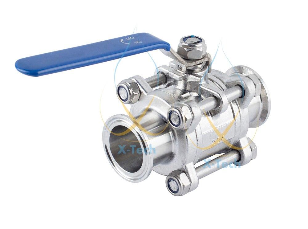 """Válvula de bola tri-clamp 1 1/2 """"(38mm) OD50.5mm 304 de acero sanitario"""