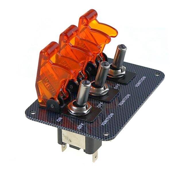 عالية الجودة الأصفر DC12V-20A مؤشر LED التبديل مزيج التبديل ألياف الكربون سطح جزء