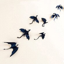 7 шт./лот горячая Распродажа готические драконы наклейки на стену Игра престолов Вдохновленный 3D декор в виде дракона pegatinas де pared