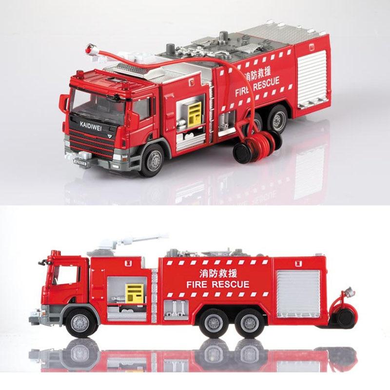 1 Uds. Vehículo de ingeniería de aleaciones con motor de fuego modelo 150 escalera de camión de bomberos de agua Soporte Original de fundido a presión modelo de juguete para regalo de niños
