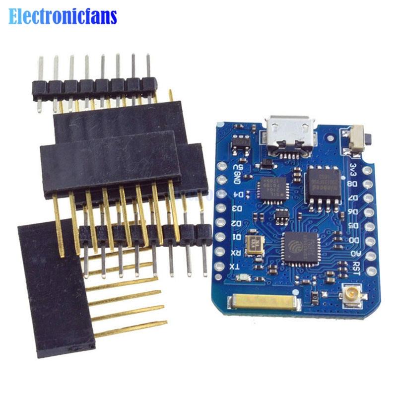 Para WEMOS D1 Mini Pro 16 M Bytes Conector de Antena Externa NodeMCU ESP8266 ESP8266F CP2104 WIFI IOT Placa de Desarrollo Con Pins