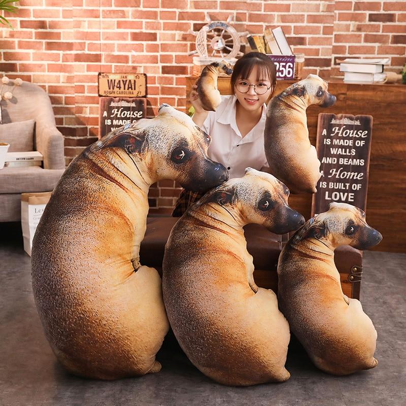 New Creative 3D Vivid Printed Full Body Dog Shape Animal Tiger Wolf Dog Cute Modern Office Hug Gift Cushion Sofa Throw Pillow