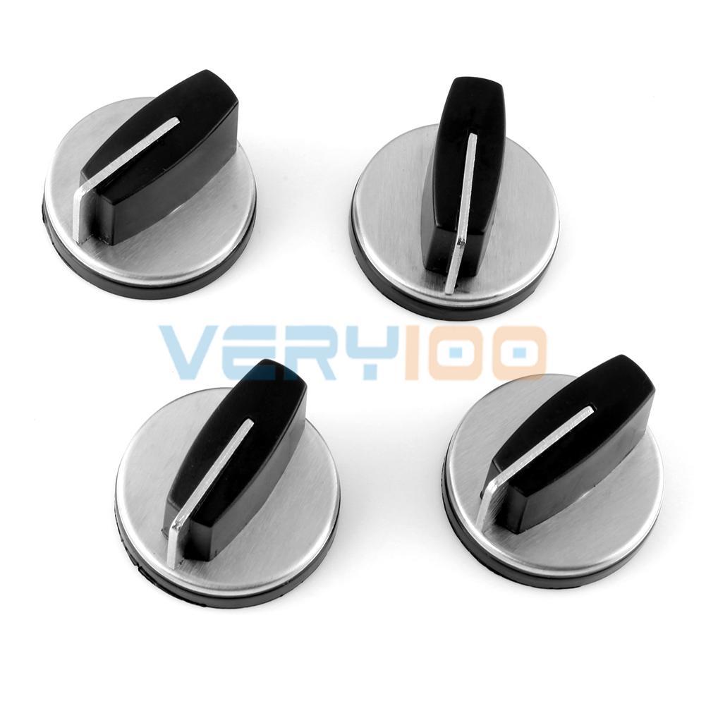 Nuevo horno de cocina a Gas de 4 Uds Control de botones de cambio rotativo tono plateado negro envío gratis