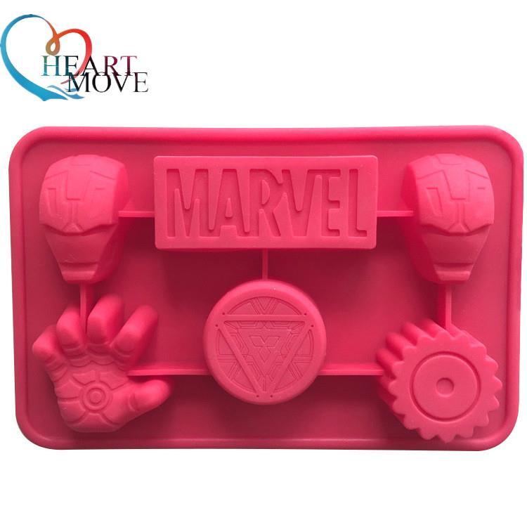 HEARTMOVE, recién llegado, molde para pastel de Chocolate con forma de Iron Man, molde para helado o jabón DIY, moldes para hornear, artículos 9461