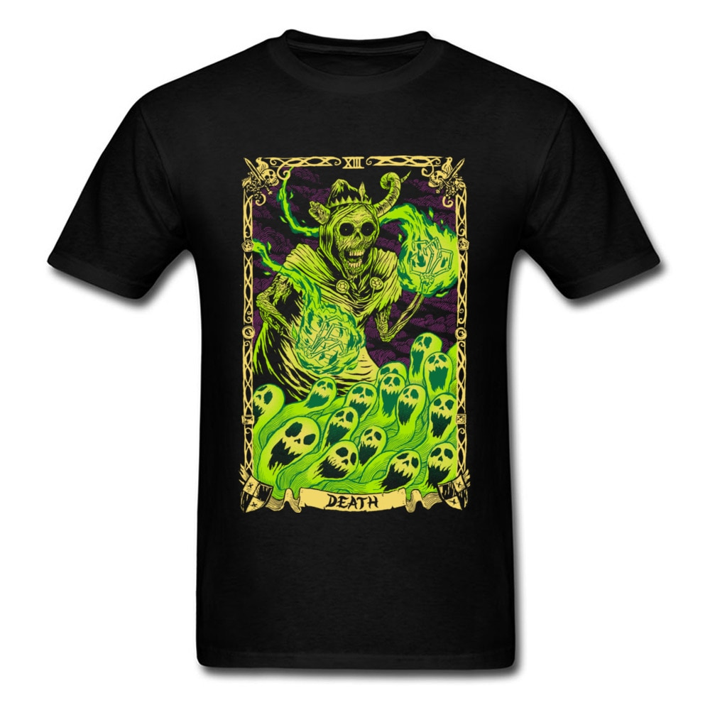 Estilo de la calle Popular camiseta de los hombres de la muerte del Tarot verde talle grande de Camiseta 100% algodón orgánico O cuello banda T camisa sudadera de moda