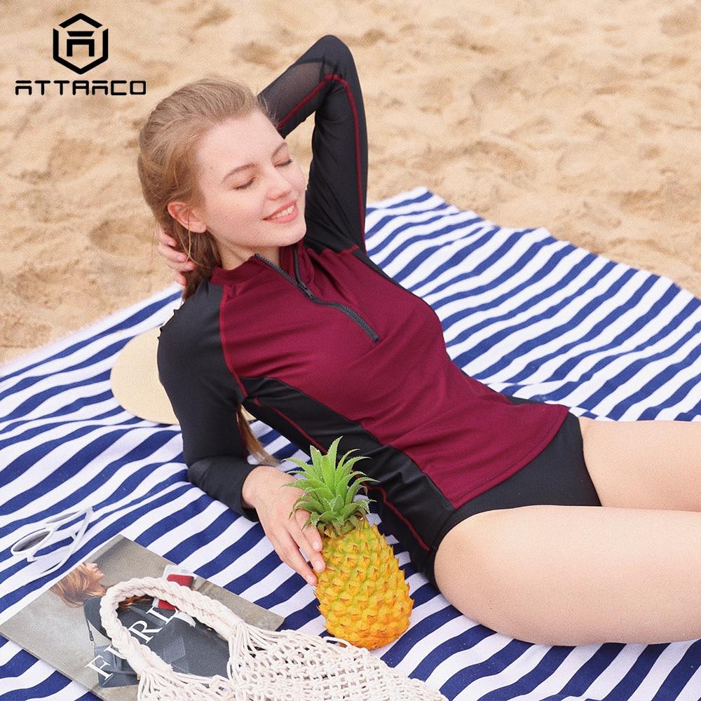 Traje de baño de manga larga con cremallera frontal para mujer de Attraco Rashguard, ropa de baño para surfear, Top para senderismo, camiseta de protección contra erupción UPF50 +