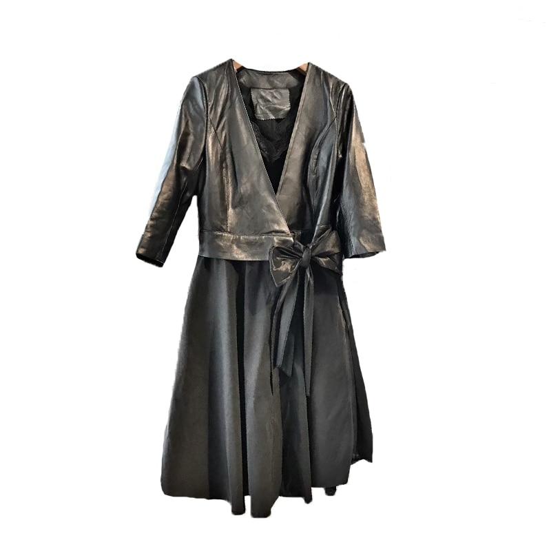2018 Leather Jacket Jaqueta Couro Women New Sale De Women's Coat Long Waist Temperament Over The Knee Female Pu Dress enlarge
