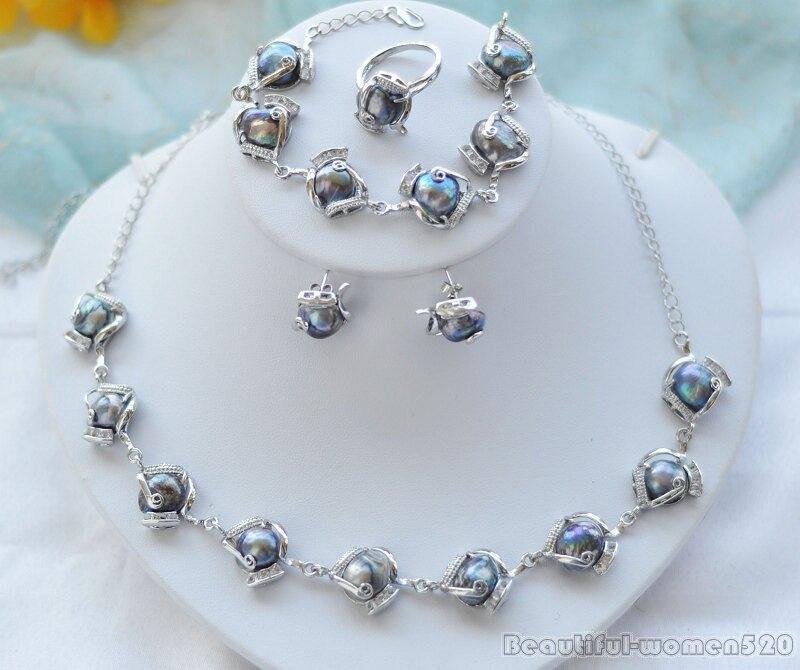 Precioso conjunto de joyería para mujer, pendiente de perla de agua dulce barroca negra, collar de pulsera, agua dulce natural genuina 925
