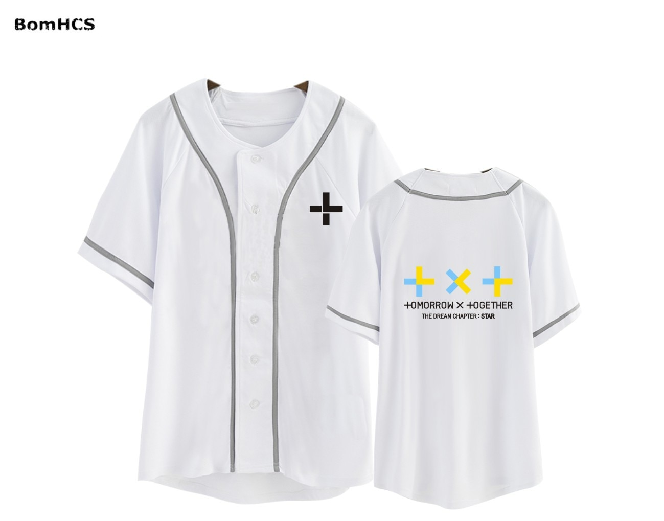 Camiseta de béisbol BomHCS Kpop TXT The Dream Chapter STAR de algodón, holgada de manga corta Camiseta deportiva (blanco y negro)