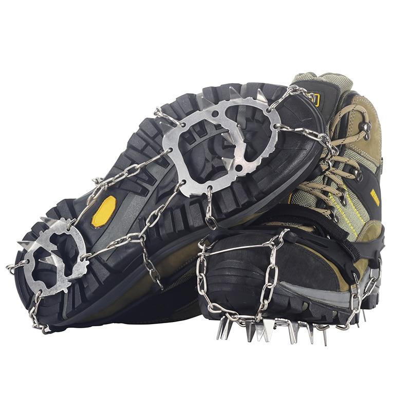 18 أسنان الصلب الجليد القابض سبايك للأحذية مكافحة زلة تسلق الثلوج المسامير الأشرطة المرابط سلسلة مخالب قبضة غطاء أحذية الأشرطة