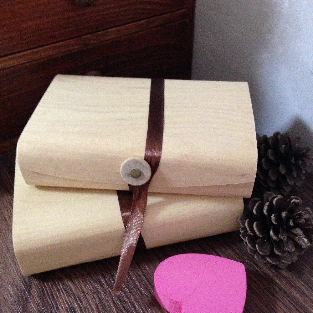 Caja de madera de regalo creativa con cinta de seda para fotos tarjetas de cumpleaños caja de almacenamiento doméstico caja de álbum de fotos 6 unid/lote 15*10*4cm