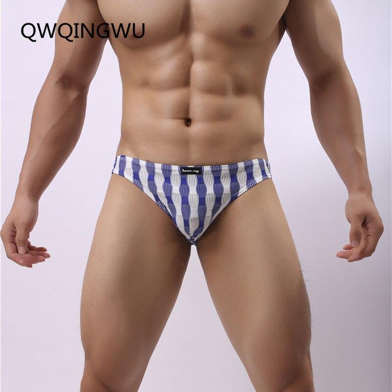 Sexy Men Underwear Striped Mesh Briefs Sheath Mens Pouch Penis Transparent Bikini Summer