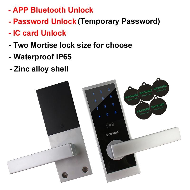 RAYKUBE Bluetooth Digital Lock With APP Smart Card Unlock Waterproof IP65 For Home / Hotel / Office Mortise Door Lock TL101