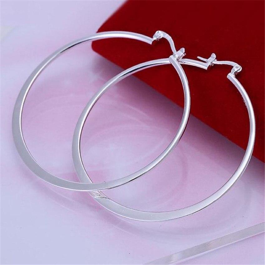 Gran calidad, pendientes de color plateado, moda de temperamento, gran círculo, superventas, modelos clásicos de moda, joyería de plata